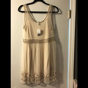 Forever 21 Cream Dress with Metallic Beading